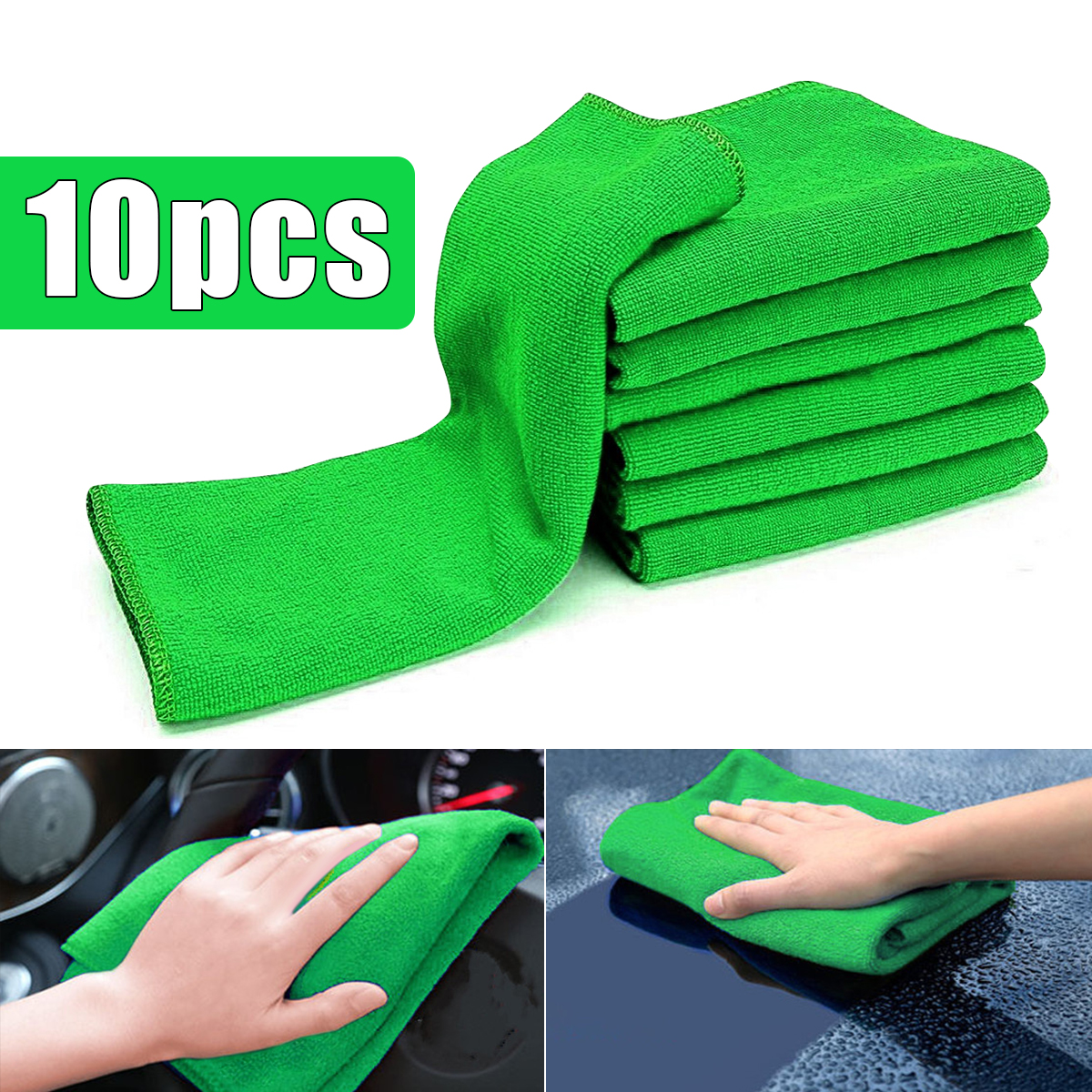 10Pcs Soft Cleaning Cloths Green Micro Fiber Auto Car Care Detailing Auto Duster Towel 12'' x 12''