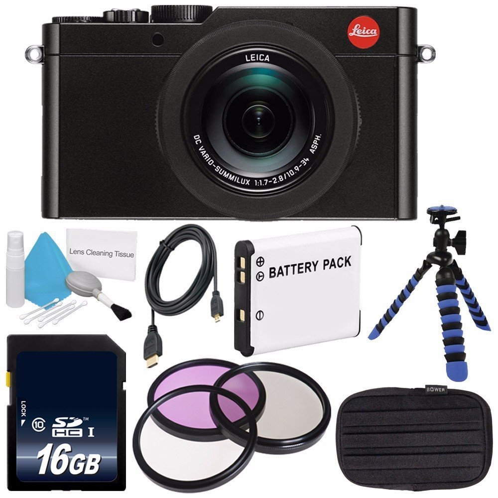 Leica D-LUX (Typ 109) Digital Camera (Black) (International Model no Warranty) + DMW-BLE9 Replacement Lithium Ion Battery + Flexible Tripod with Gripping Rubber Legs + Mini HDMI Cable Bundle 6