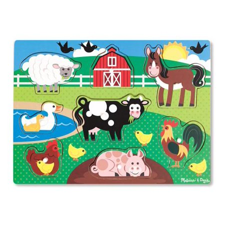 Melissa & Doug Farm Wooden Peg Puzzle, 8pc