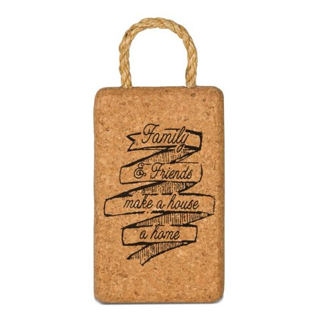 22037 Family and Friends Cork Trivet, Multicolored, Saying Family & Friends make a house a home By Wine All The Time