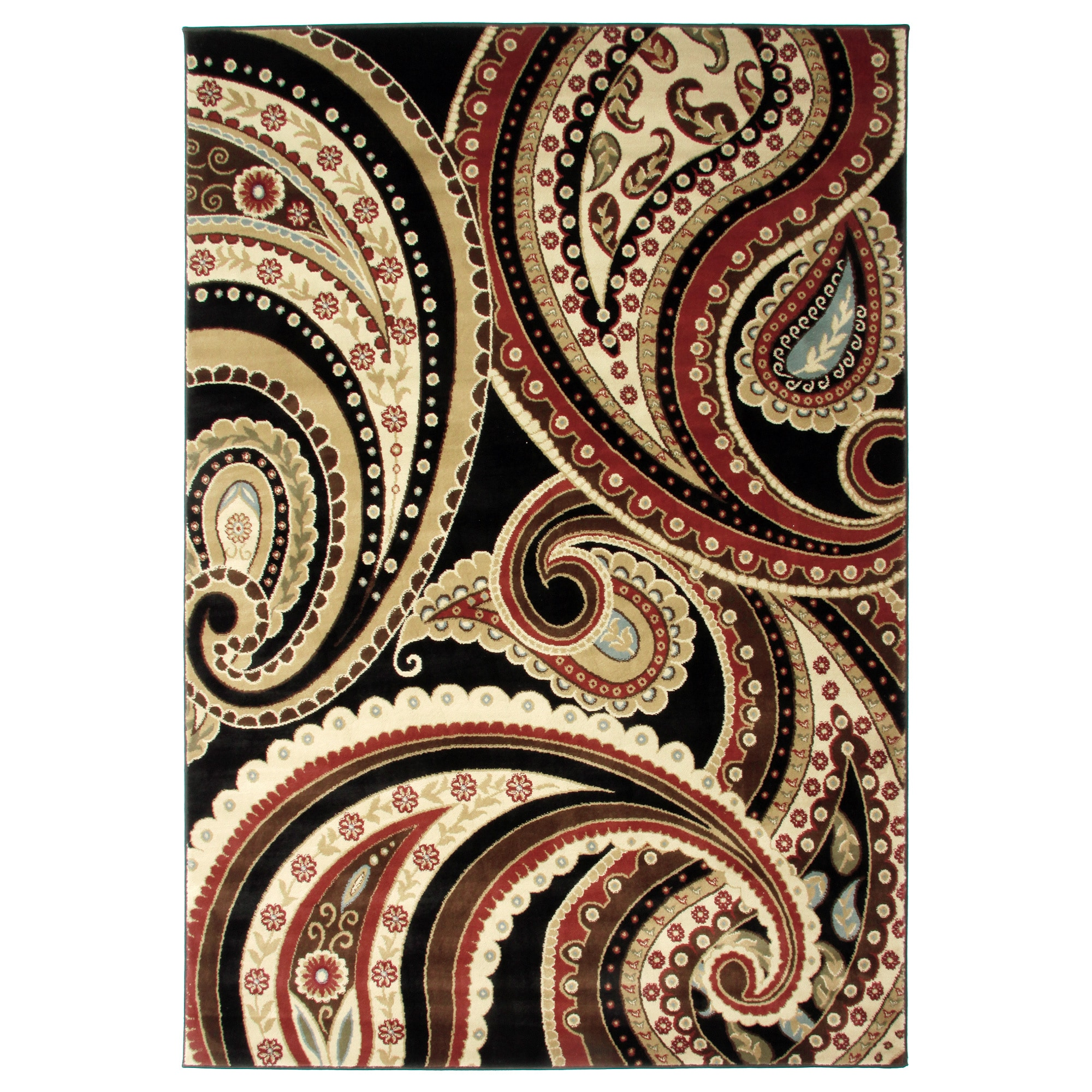 Maryberry Rugs Contemporay Paisley Multicolor Area Rug (7'10 x 9'10)