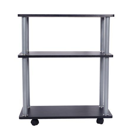 3 Tiers Metal Wood Rolling Phone Fax Machine Office Cart Home File Utility Movable Projector (Table Projector Cart)