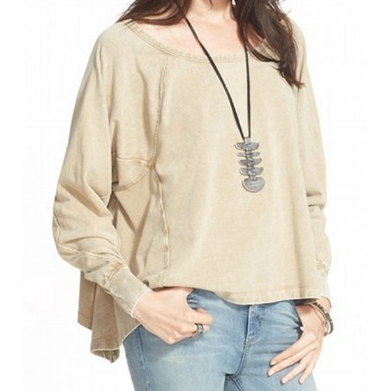 Free People NEW Amber Brown Womens Size Small S Boat Neck Sweater