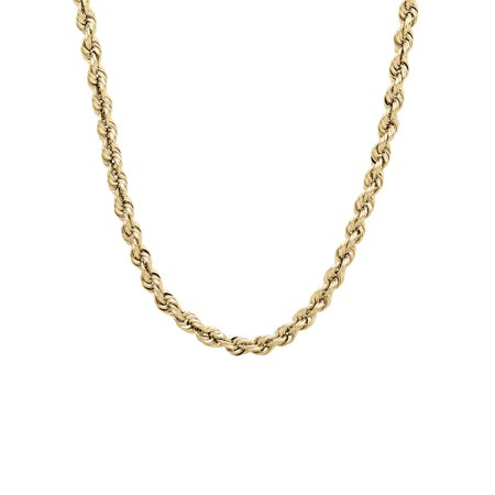 "Brilliance Fine Jewelry 10K Yellow Gold 3.40-3.45mm Rope Chain, 22"" Necklace"