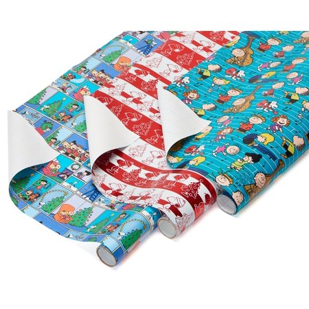 American Greetings Christmas Peanuts Wrapping Paper, 3ct