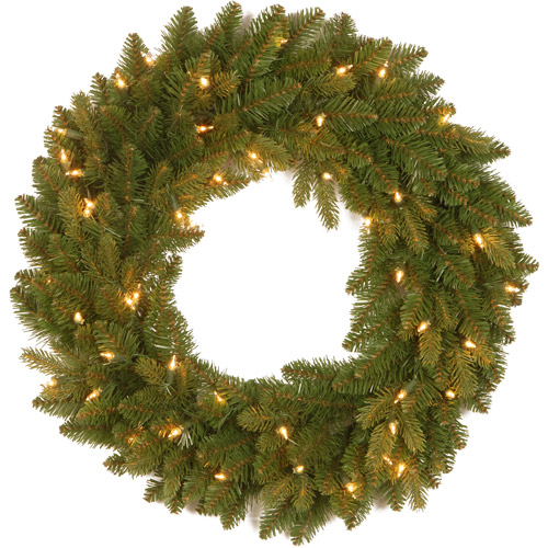 "National Tree 24"" ""Feel Real"" Avalon Spruce Wreath with 50 Clear Lights"