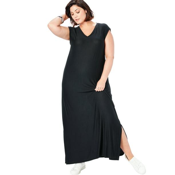 Roaman's Women's Plus Size Side-Slit T-Shirt Dress Maxi Length