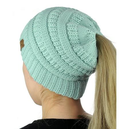 8689dc23f C.C BeanieTail Soft Stretch Cable Knit Messy High Bun Ponytail Beanie Hat,  Mint