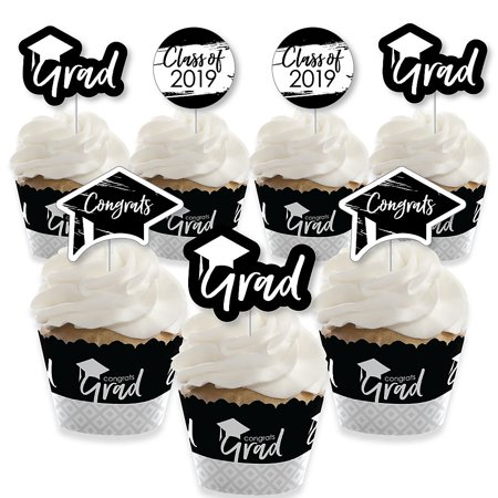Black and White Grad - Best is Yet to Come - Cupcake Decoration - 2019 Black and White Graduation Party Cupcake Wrappers and Treat Picks Kit - Set of