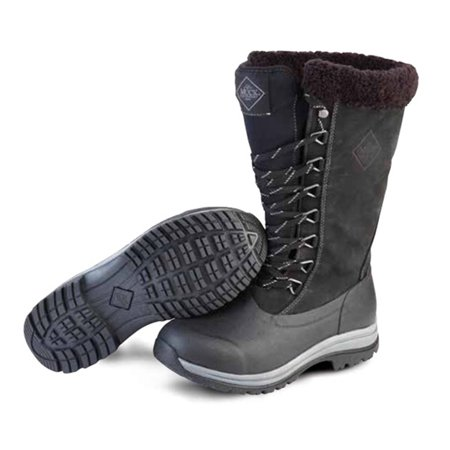 Muck Boot Women's Apres Lace 13'' Tall Snow Boots Black Leather Neoprene Rubber Fleece 11 - Tall Leather Boots