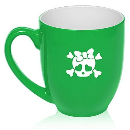 16 oz Large Bistro Mug Ceramic Coffee Tea Glass Cup Heart Skull Bow (Green)