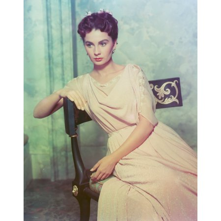 - Jean Simmons sitting on a Chair in Beige Short Sleeve Draped Silk Dress Photo Print