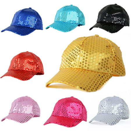 Obstce Women Men Glitter Sequins Baseball Caps Snapback Hats Party Outdoor Adjustable (Sequin Baseball Cap)