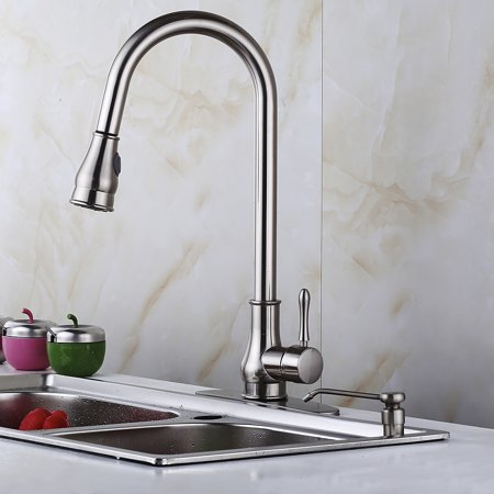 16 Kitchen Sink Faucet Brushed Nickel Pull Out Swivel Spout