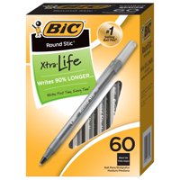 BIC Round Stic Xtra Life Ball Pen, Medium Point (1.0mm), Black, 60 Count