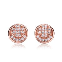 Alphabetdeal C.Z. Rozzato Sterling Silver Rose Plated Double Circle Design Round Earrings