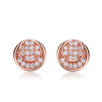 Alphabetdeal C.Z. Rozzato Sterling Silver Double Circle Earrings