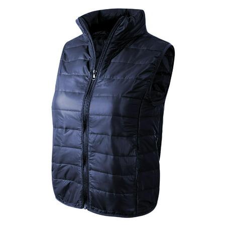 Made by Olivia Women's Casual Lightweight High Neck Puffer Vest Navy Blue
