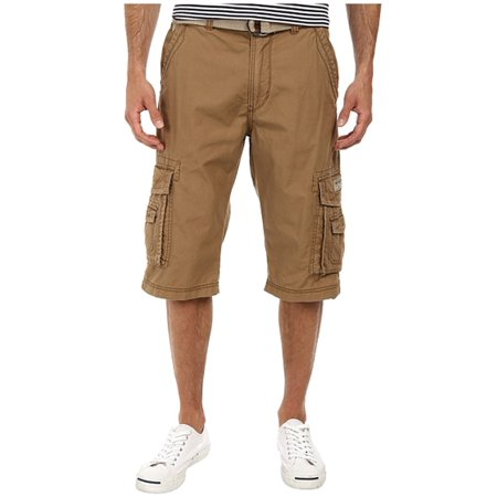 Unionbay Belted Shorts (Unionbay NEW Khaki Brown Mens Size 34 Flat-Front Belted Cargo Shorts )