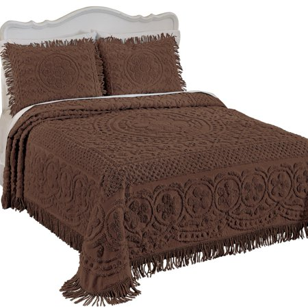 Bed Leopard Chenille - Calista Chenille Lightweight Bedspread with Fringe Border, Twin, Chocolate