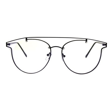 Retro Metal Flat Top Rim Exposed Clear Lens Eyeglasses Black