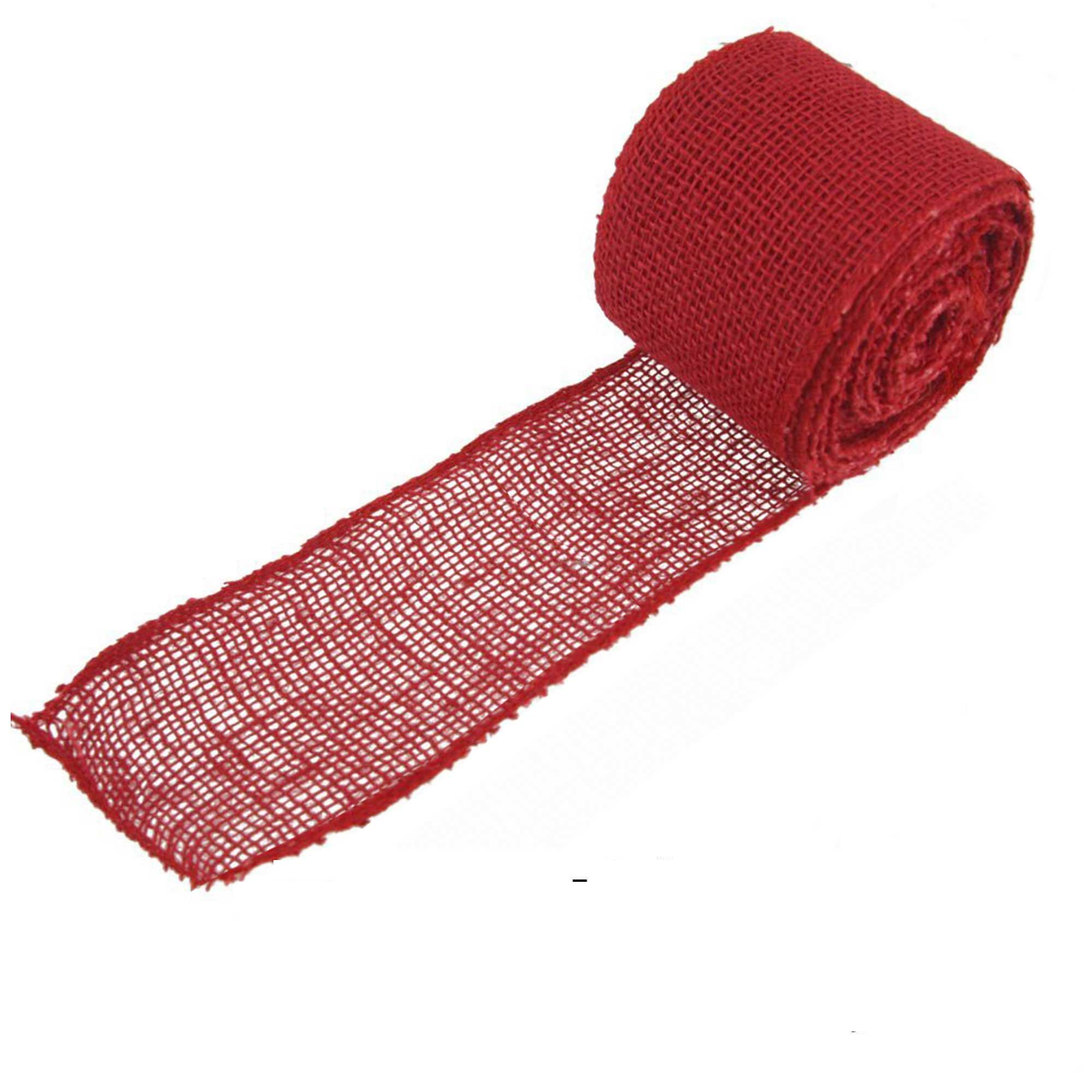 "BambooMN Brand - 3"" Inch wide Burlap Fabric Craft Ribbon - 10 Yards - Hemp Jute - Cranberry"