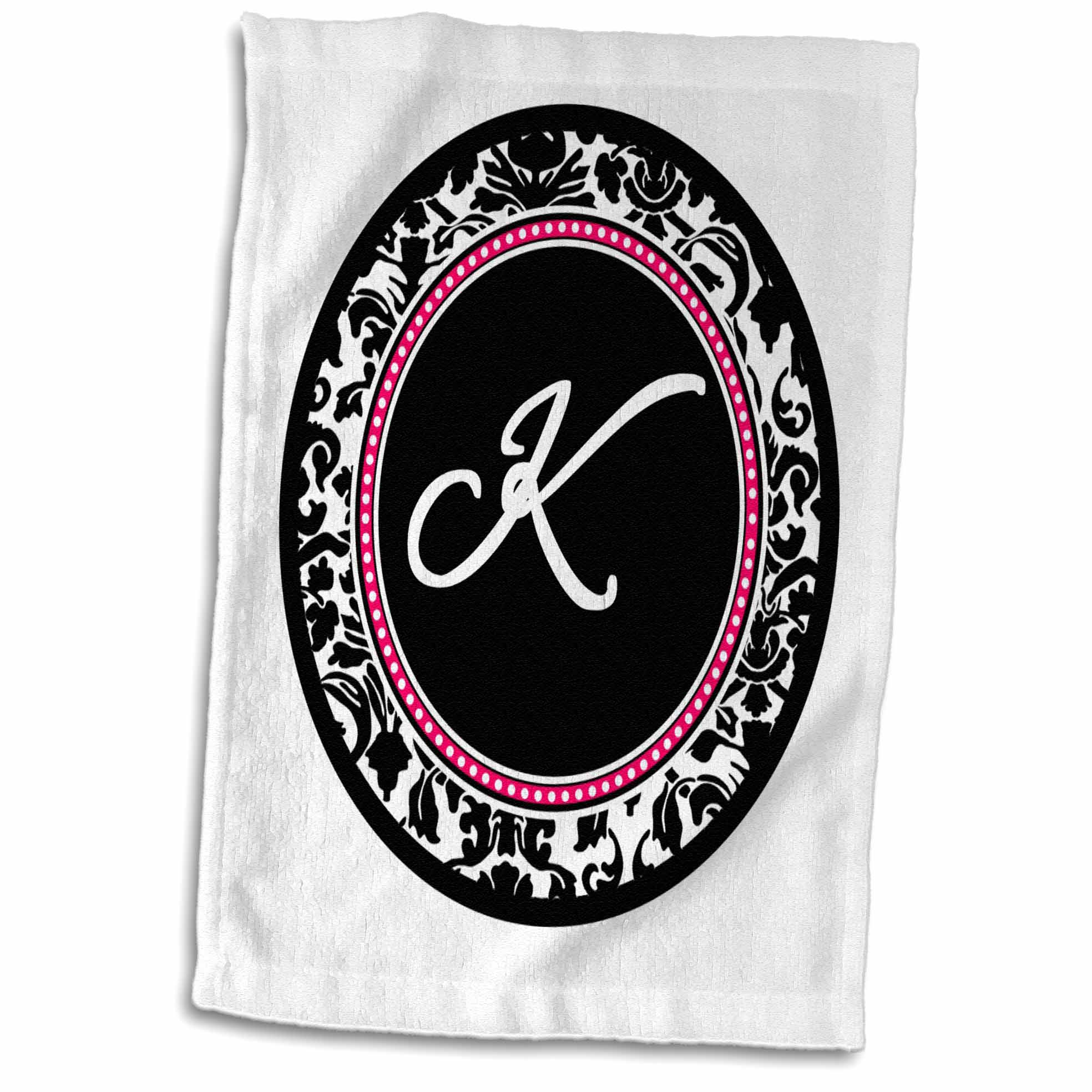 3dRose Letter K stylish monogrammed circle - girly personal initial personalized black damask with hot pink - Towel, 15 by 22-inch