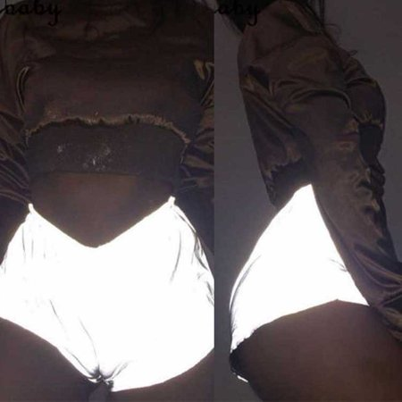 2019 Ladies Reflective Luminous Shorts Dance Party Casual Club Gym Wear Loose Solid Elastic High Waist Size