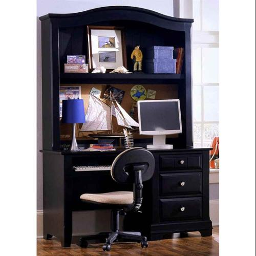 3-Drawer Pull Out Computer Desk w Hutch in Black Finish