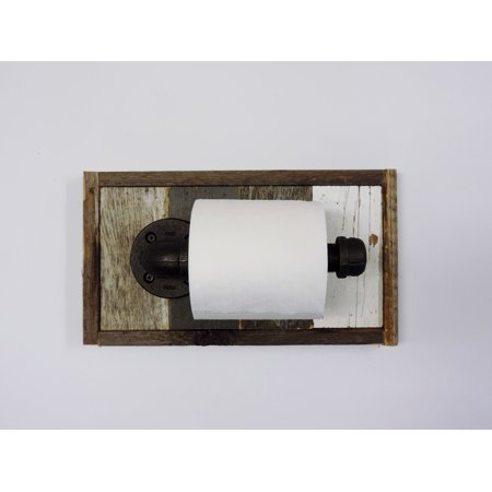 AllBarnWood Rustic Reclaimed Wood Wall Mounted Toilet Paper roll Holder, Unique Wood and Metal Home Bath Tissue Dispenser, Farmhouse Bathroom Decor (Metal Tissue Dispenser)