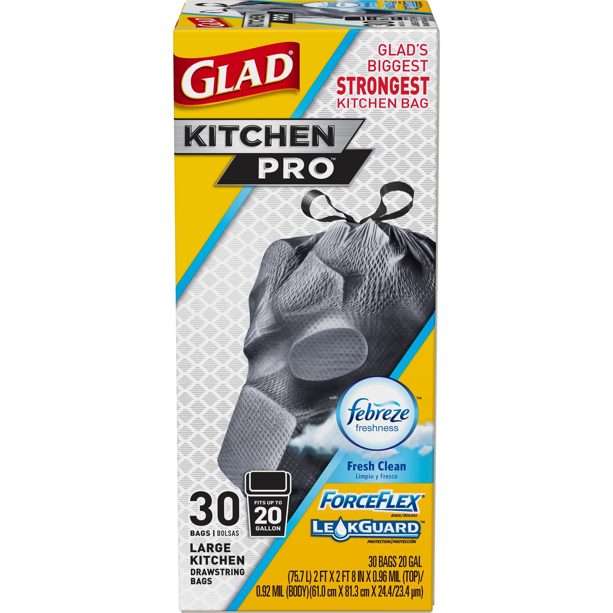 Glad Forceflex Kitchen Pro Drawstring Trash Bags - Febreze Fresh Clean - 20 Gallon - 30 ct