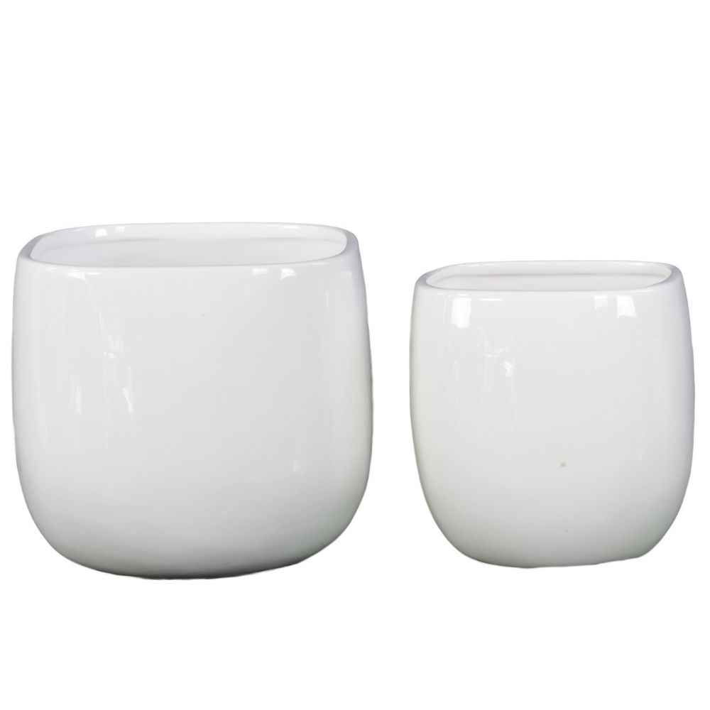 Image of 13510 Ceramic Pot Set Of Two - White