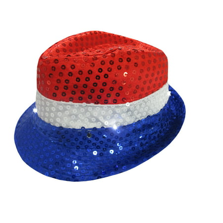 Sequin Patriotic Fedora Sparkly Light Up Red White Blue 4th July Party Hat