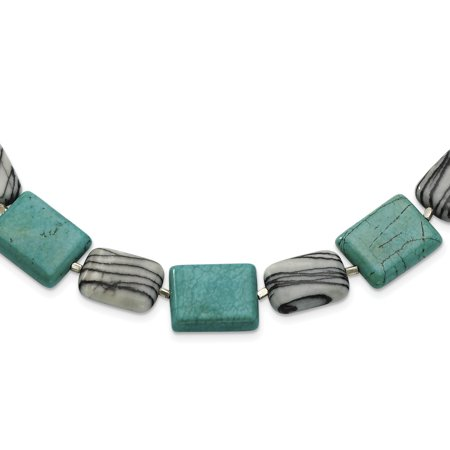- Sterling Silver Dyed Howlite & Zebra Jasper Necklace