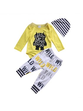 d4280bb557dd Product Image XIAXAIXU Newborn Infant Baby Boys Monster Printed Tops Romper  Long Pants Hat 3Pcs Outfits Set Clothes