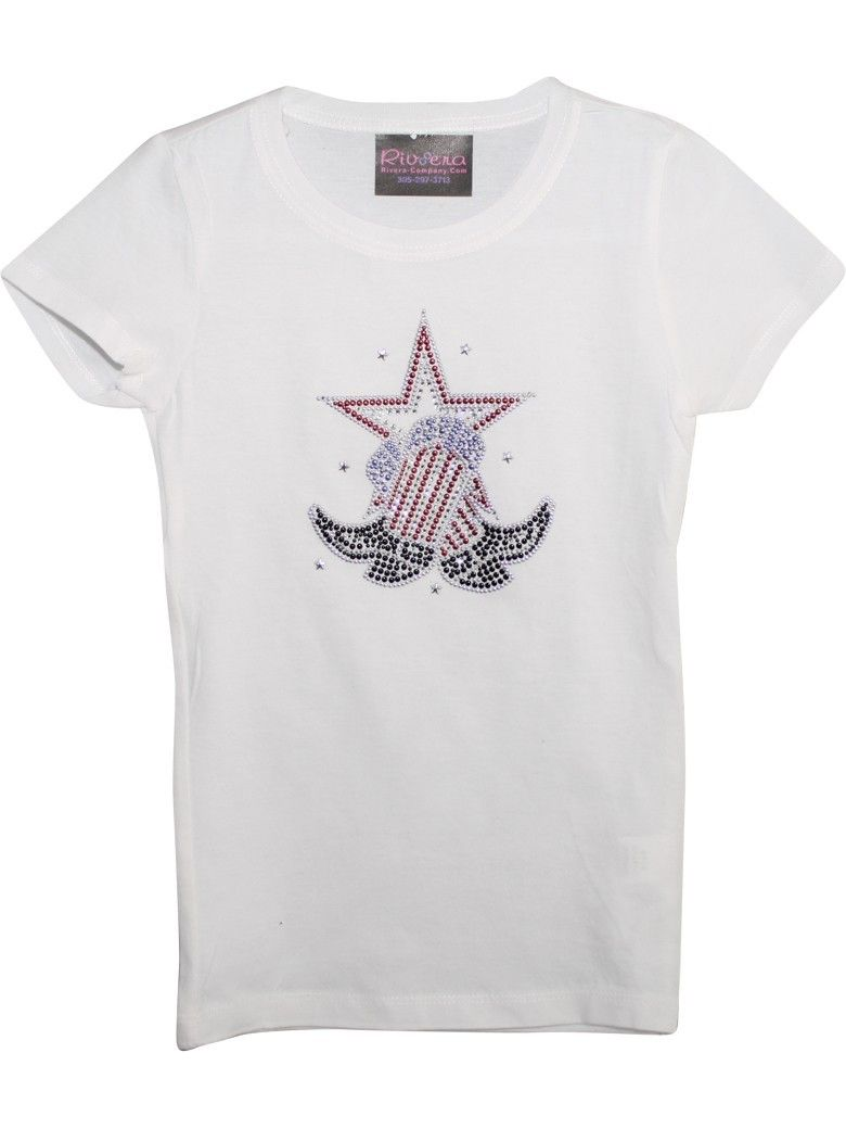 Girls White Boots With Star Print Short Sleeved Cotton T-Shirt
