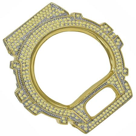 Gold Bezel Inserts (Canary Casio G Shock Watch 6900 Series Bezel Gold Tone Simulated Diamond Custom Insert Cover Case)