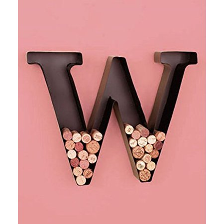 "Personalized Letter ""W"" Metal Wall Wine Cork Holder - Monogram Wall Art"