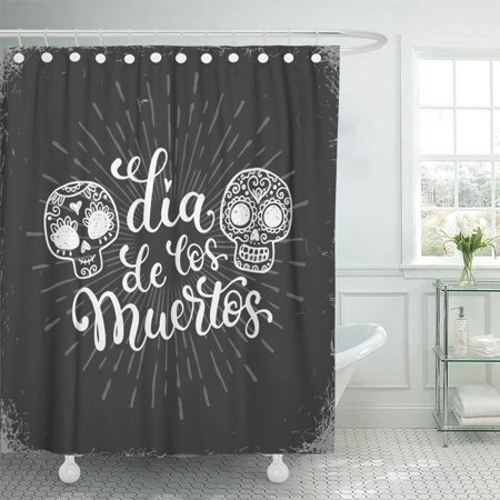 KSADK Chalk Dias De Los Muertos in Mexico with Doodle Sugar Skulls Halloween Heart Mexican Shower Curtain 66x72 inch - Halloween In Mexico