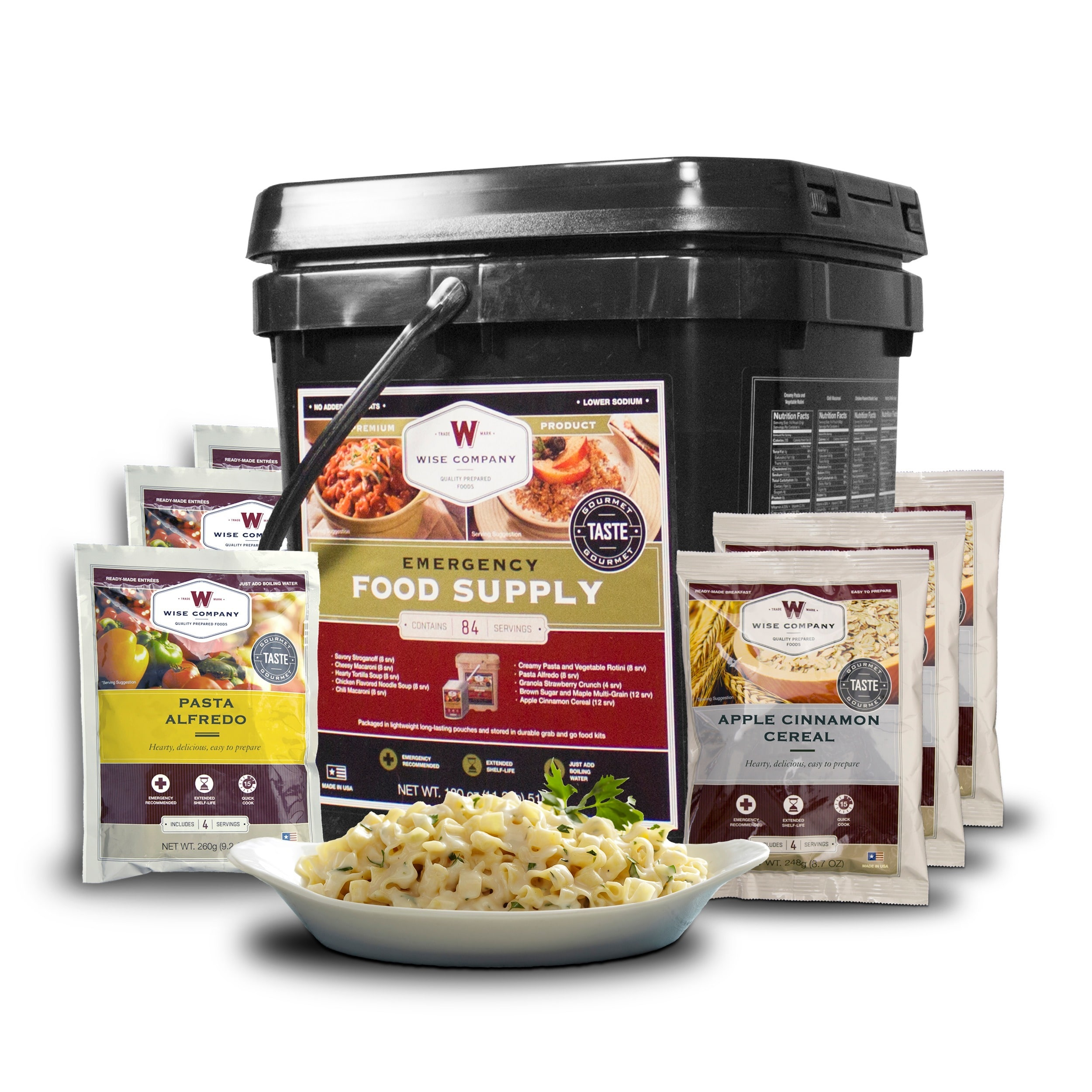 Wise 84 Serving Entree and Breakfast Grab and Go Bucket