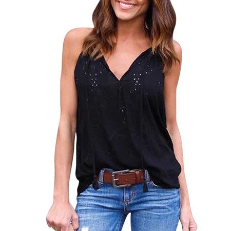Sexy Sleeveless T Shirt For Women V Neck Solid Summer Vest Embroidery Spaghetti Strap Casual Blouse Tops