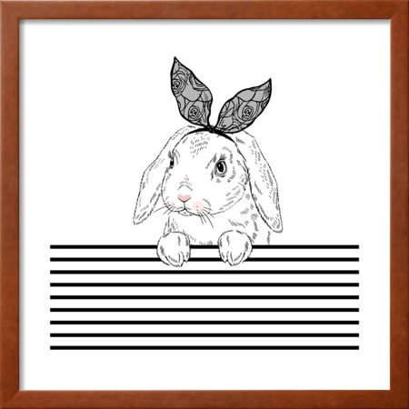 Lovely Bunny with Lace Ears and Stripy Background Framed Print Wall ...