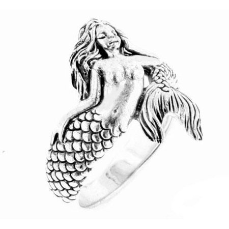 Sterling Silver Wrapped Sea Nymph Mermaid Ring - Little Mermaid Ring