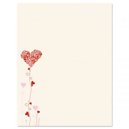 Seeds of Love Letter Papers - Set of 25 Valentine'stationery papers are 8 1/2