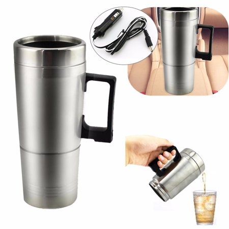 Portable 304 Stainless Steel Car Cigarette Lighter Heating Mug Cup Coffee Kettle Vehicle Coffe Tea Water Heater Boiler Travel 10 minutes Boil quickly Electric Travel Thermoses (Hot Water Heater Thermos)
