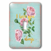 3dRose Typography floral watercolor life Vintage Shabby-chic flowers flower - Single Toggle Switch