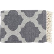 "50"" x 70"" Warm Hearth Gray and White Fringed Cotton Throw Blanket"