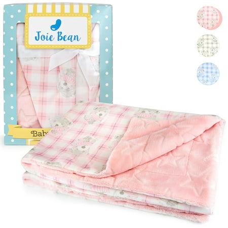 JOIE BEAN Plush Baby Blanket for Newborn   Soft Minky Fleece Infant Blanket   Warm Reversible Lightweight Baby Blanket for Crib Pink Minky Blanket