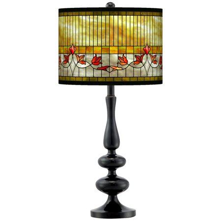 Giclee Gallery Tiffany-Style Lily Giclee Paley Black Table Lamp