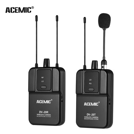 ACEMIC DV-20 UHF True Diversity Wireless Microphone System Lavalier Mic 100M Effective Range with Transmitter & Receiver for DSLR Camera Camcorder Interview Sound Recording